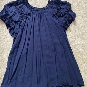 Blue Off the Shoulder Blouse